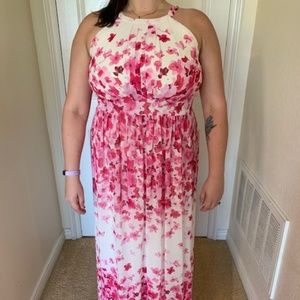 Floral Pink and White Maxi Dress